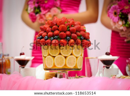 Wedding table decoration - stock photo