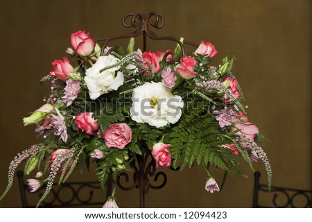 stock photo Wedding Table flower arrangement with pink roses