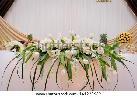 Wedding Table Flower Decoration Stock Photo 141223669 : Shutterstock