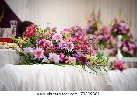 stock photo Wedding table flower decoration