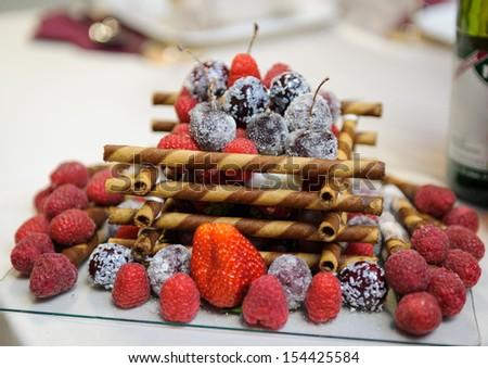 Wedding table food decoration stock photo 154425584 - Food decoration for wedding ...