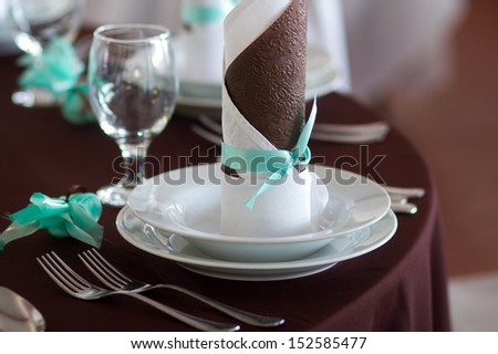 wedding table set with decoration for fine dining or another catered event