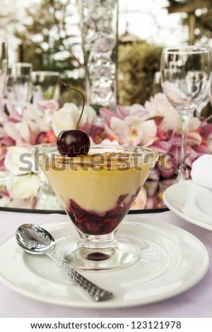 Wedding Table Setting/ a table set for an outdoors wedding