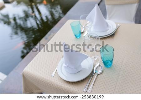 wedding table setting closeup. table setting