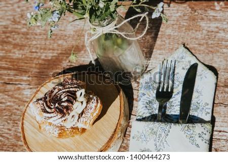 Wedding table setting in beautiful rustic style. #1400444273