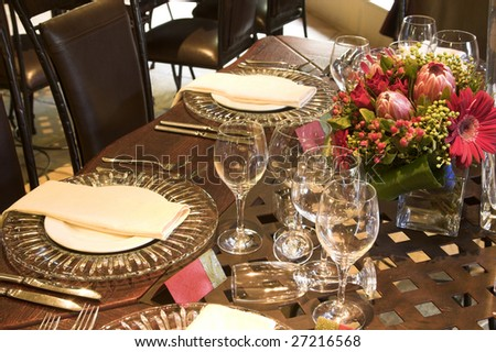 Wedding Table Settings on Wedding Table Setting With Pink Protea Flowers Stock Photo 27216568