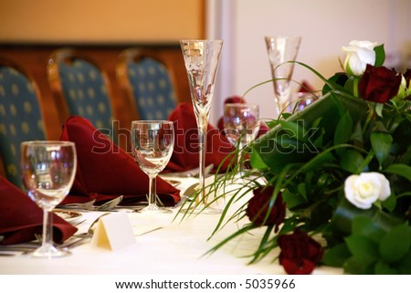 stock photo Wedding table with focus on champagne flute