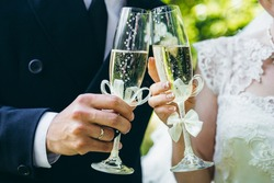 Wedding. The champagne glasses.