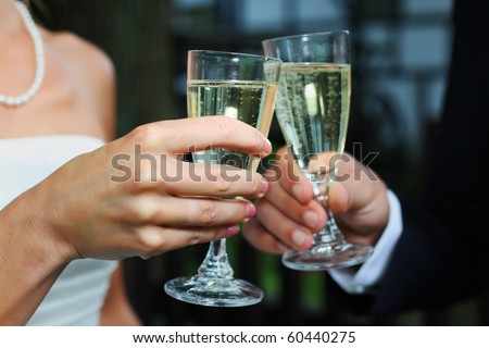 wedding toasting glasses. Bride & groom toasting with champagne or sparkling wine