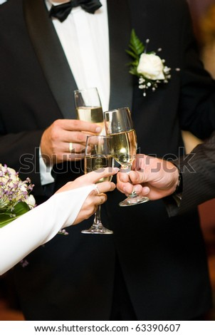 stock photo wedding toasting glasses Bride groom toasting with