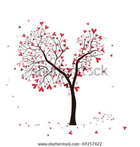 stock photo Wedding tree with heart Garden Valentine illustration