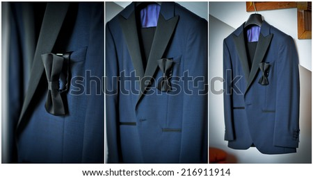 Wedding ultramarine suit and black bow. Formal groom suit with black bow-tie. Elegant blue groom\'s suit close up with bow tie.