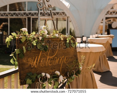 Wedding. Wedding ceremony. Welcome Decoration Florist Table.