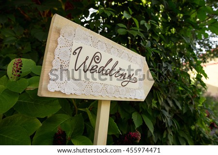 Wedding. Wedding decor. Wooden plaque with the inscription Wedding. Wedding decorations  #455974471
