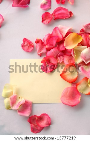 Wedding white envelope in petals of roses