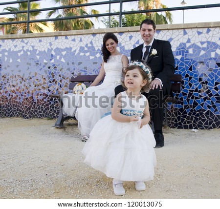 Wedding with young daughter