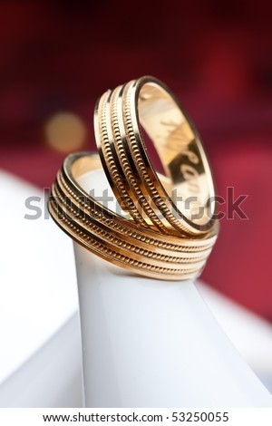 weddings rings on a heel - stock photo