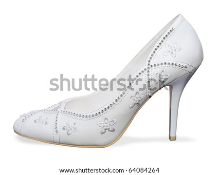 Weddings white shoes.Woman shoe on a white background.