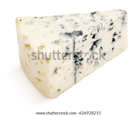 Wedge of soft blue cheese with mold isolated on white background. Blue cheese slice with clipping path
