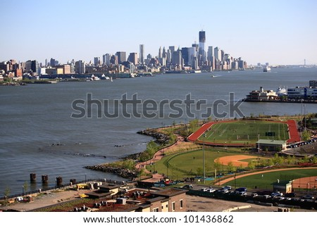 WEEHAWKEN, NEW JERSEY - APRIL 29:  Waterfront Park and Recreation Center with the New York City Skyline on April 29, 2012 in Weehawken, NJ. The park opened in 2007 with 16 acres of recreation space.