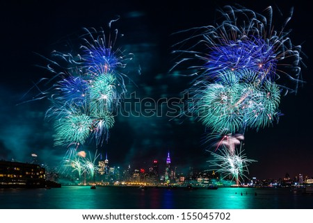 WEEHAWKEN, NEW JERSEY - JULY 4: Independence Day fireworks above the Manhattan skyline on July 4, 2013 in Weehawken, New Jersey.