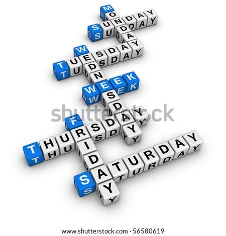 weekdays  (blue-white cubes crossword series)