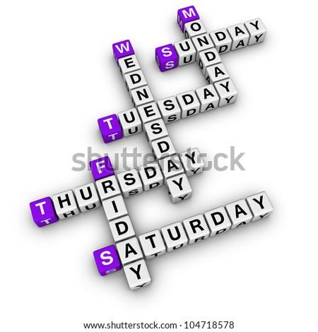 weekdays crossword (blue-white cubes crossword series)