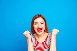 Weekend rest relax surprise shock wow omg people person concept. Close up studio photo portrait of pretty charming lovely lady gesturing with fists looking at camera isolated bright background