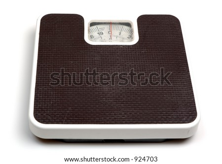 Weighing scales (high key), isolated on white background.