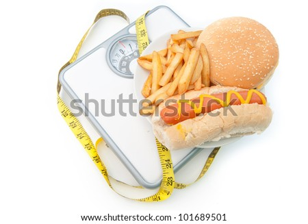 Weighing scales with fast food