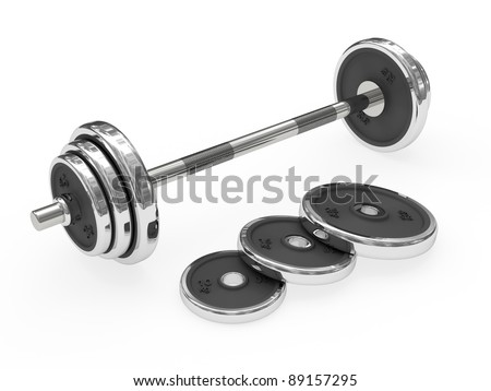 Weight barbell rendered with soft shadows on white background
