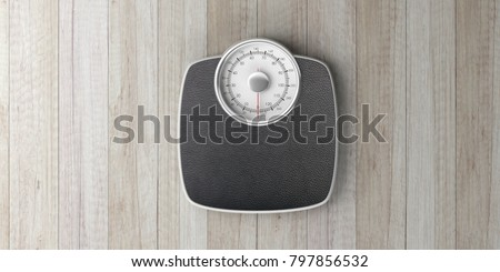 Weight control concept. Bathroom scale machine isolated on wooden background, top view, banner. 3d illustration