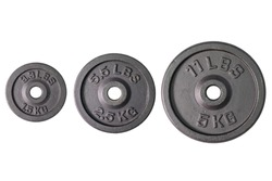 Weight for sport isolated on white background. Gym equipment 1.5, 2.5, 5 kilograms (kg.), Black metal barbell tool plate for exercise and fitness. Three dumbbell heavy concept. Top view with cut out