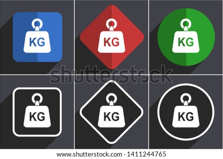 Weight, kg, kilogram flat design icons with shadows
