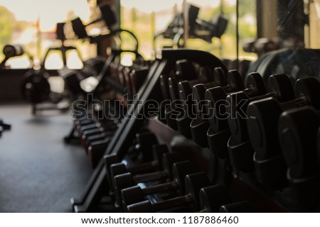 Weight lifting equipment in fitness and gym, Fitness Healthcare Wellness Innovation Concept.