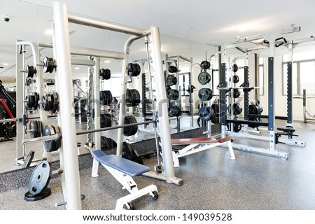 Weight lifting equipments in a club gym