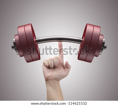 Weight lifting with just one finger Concept of strength and training