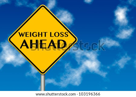 Weight Loss ahead sign showing business concept on a sky background