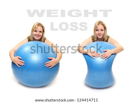 Weight loss concept. Women with blue ball. Picture with space for your text.