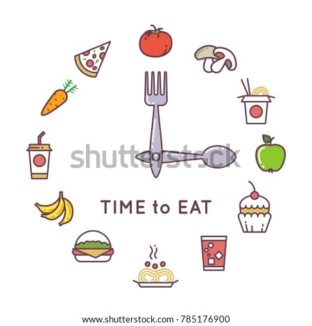 Weight loss diet concept with clock and food icons. Food clock concept lifestyle illustration