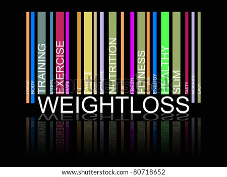 weight loss  text bar-code, vector
