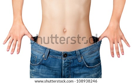 Weight Loss Woman, isolated on white