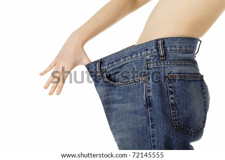 Weight loss woman, isolated on white background
