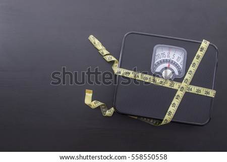 Weight scale with measure tape for check your body shape.