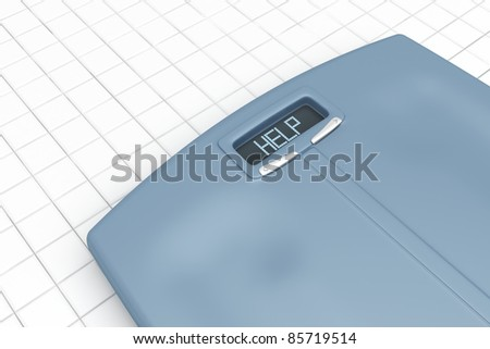 Weight scale with word HELP on display