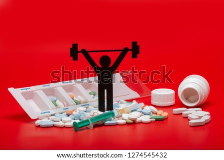 weightlifting pictogram with pills and red background #1274545432