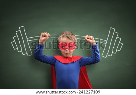 Weightlifting superhero boy concept for aspirations, achievement, exercising and fitness