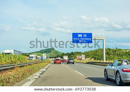 "Weinsberg, Germany - June 28, 2017: Highway A6 (Autobahn) near town Weinsberg, interchange ""Kreuz Weinsberg""  #693773038"