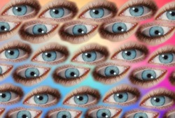 Weird background pattern of multiple psychedelic blue eyes in multicolor with rainbow background