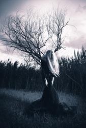 Weird female figure, monochromatic shot